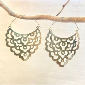 Silver Scalloped Lace Hoop Earrings